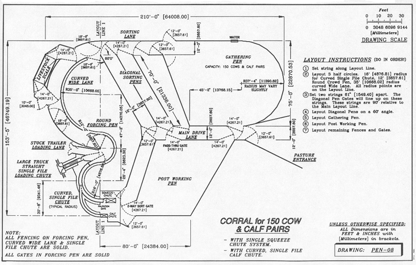 Ranch and property cattle corral designs for Ranch layout